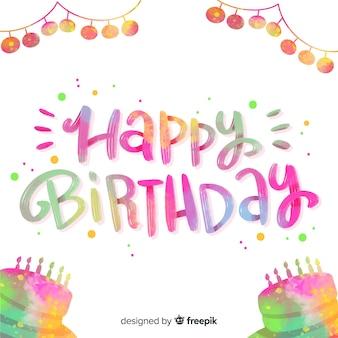 Citação de letras coloridas de feliz aniversário