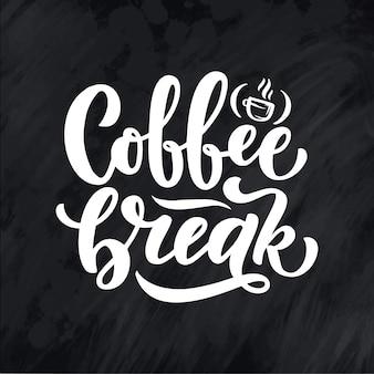 Citação de letras de mão com desenho para cafeteria ou um café.