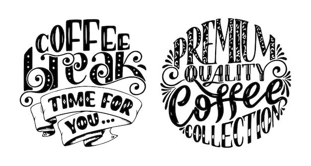 Citação de letras de mão com desenhos para cafeteria ou um café.