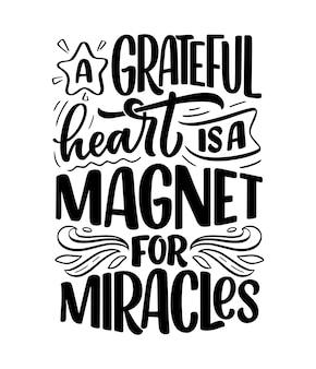 Citação de letras desenhadas à mão sobre frase legal de gratidão para impressão e design de cartaz slo inspirador ...