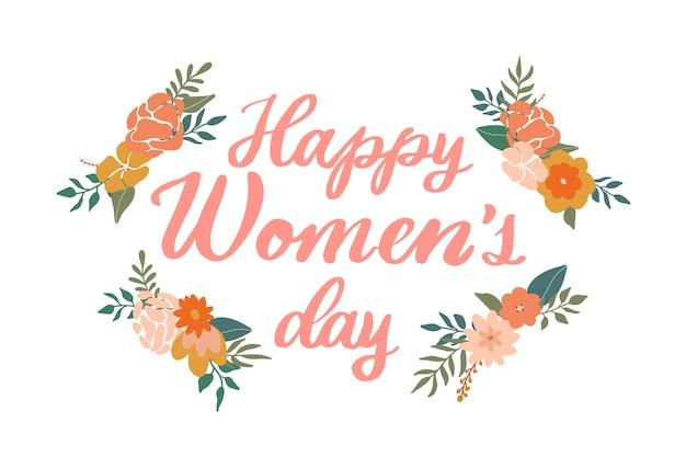 Citação de letras feliz do dia da mulher com flores