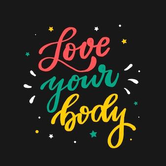 Citação de letras motivacionais 'ame seu corpo'