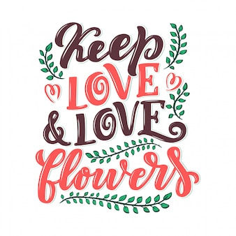 Citação de letras sobre flores, ilustração feita dentro