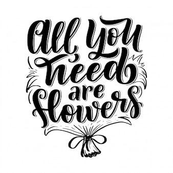Citação de letras sobre flores