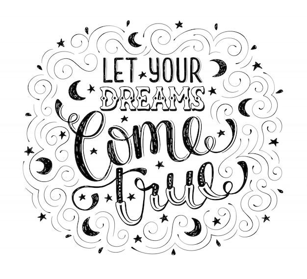 Citação de mão desenhada sobre sonho.