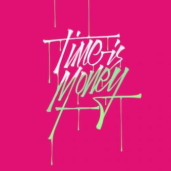 Citação de negócios, tempo é dinheiro, mão desenhada letras de escova de tipografia com gotas