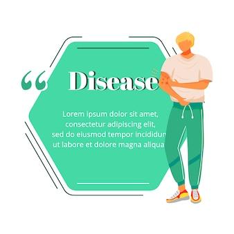 Citação de personagem plana de sintoma de doença