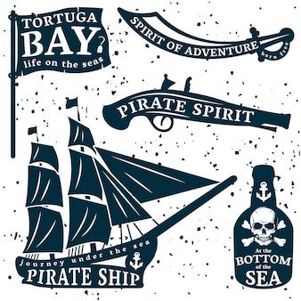 Citação de piratas com o espírito de aventura da baía tortuga no fundo das descrições do mar