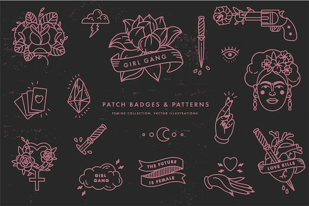 Citação de poder feminino. conjunto de ícones de símbolo da moda com o retrato de frida kahlo, diamantes, rosas e símbolos femininos. emblemas de remendo. adesivos, alfinetes. slogan do feminismo. mulher certa.