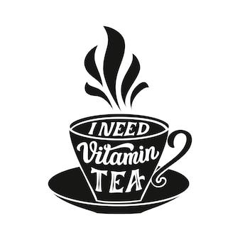 Citação de tipografia de chá