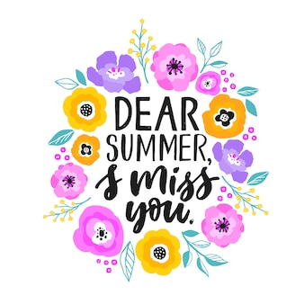 Citação de verão e ilustração de flores.