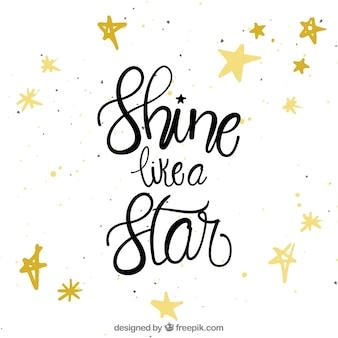 Citação e fundo da estrela com letras
