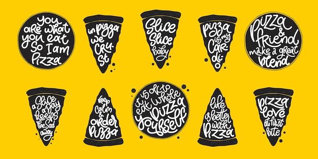 Citação engraçada no selo de fatias de pizza definido em fundo amarelo. elementos de design vetorial para camisetas, bolsas, pôsteres, cartões, adesivos e menu
