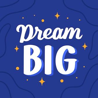 Citação letras motivacional cartaz sonho grande