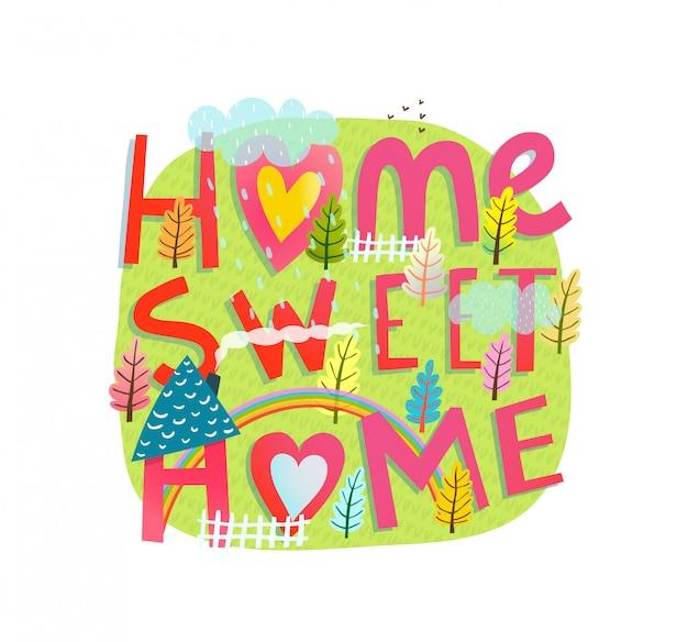 Citação mão desenhada letras casa doce lar