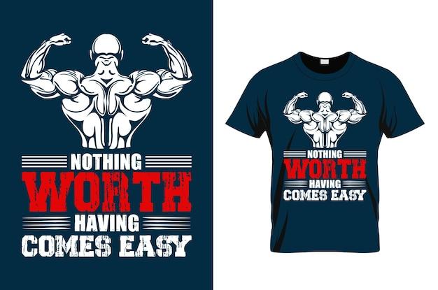 Citação motivacional de ginásio com efeito grunge desenho vetorial para t-shirt