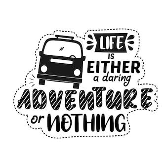 Citação motivacional premium sobre aventura