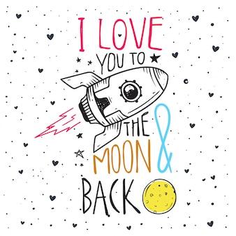 Citação romântica, eu amo você para a lua e para trás