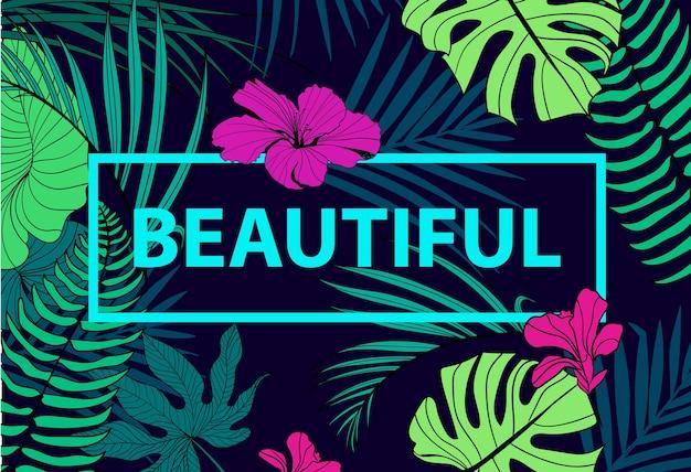 Citação tropical colorida em moldura quadrada. pôster romântico, banner, capa. bela