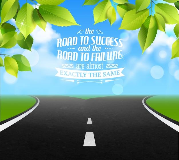 Citações da estrada da vida com ilustração realista de símbolos de falha e sucesso