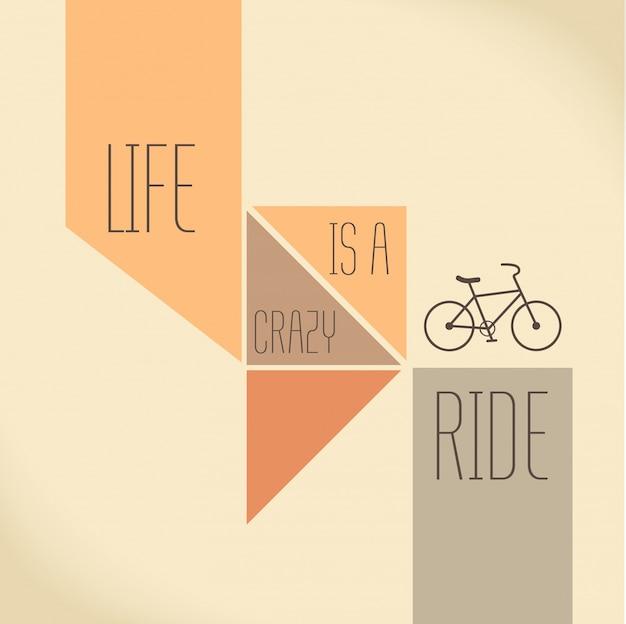 Citações da motivação a vida é um passeio louco conceito creativo da tipografia do vetor