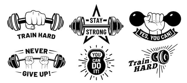 Citações de motivação de ginásio. fitness inspirador, musculação forte e halteres na mão.