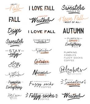 Citações de tipografia fofa com frases aconchegantes de outono e inverno. sobre fundo branco. letras de higiene motivacional. estilo dinamarquês escandinavo.