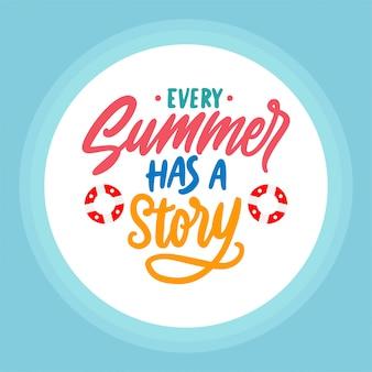 Citações de verão com design de letras de mão