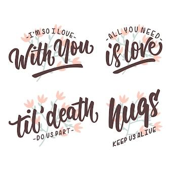 Citações do amor que rotulam o cartaz do trypography
