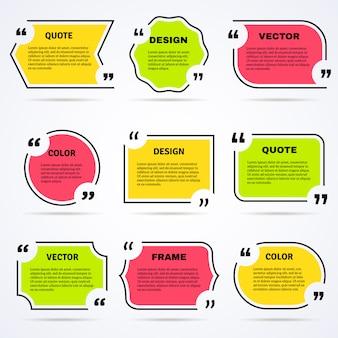 Citações inspiradas coloridas delineadas conjunto de ícones