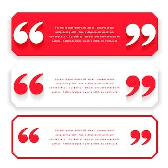 Citações largas vermelhas ou design de modelo de testemunho