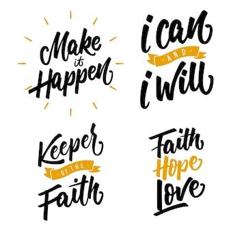 Citações motivacionais mão letras tipografia