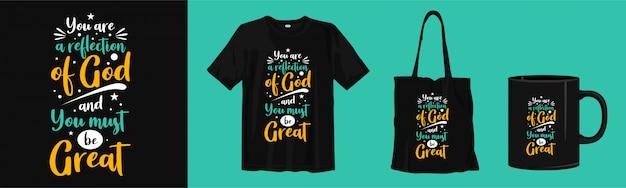 Citações motivacionais sobre religião. design de t-shirt, sacola e copo de tipografia