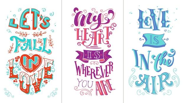 Citações românticas. letras de mão duotônicas.