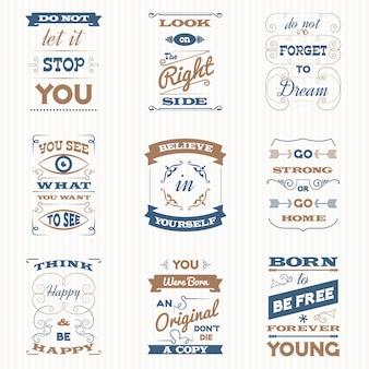 Citações tipografia retro set