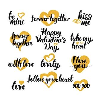 Citações tiradas mão do dia dos namorados. ilustração em vetor de elementos de design de amor de letras manuscritas.