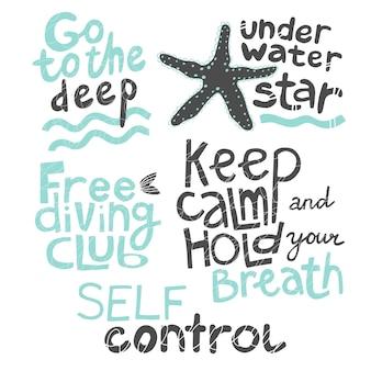 Citações vá para a estrela subaquática profunda clube de mergulho livre mantenha a calma e prenda a respiração