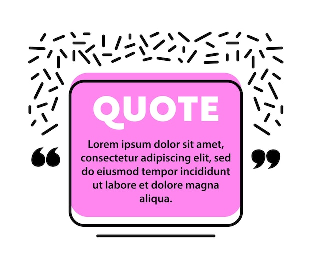 Citar balão de fala, modelo de layout em branco, quadro de caixa de citação