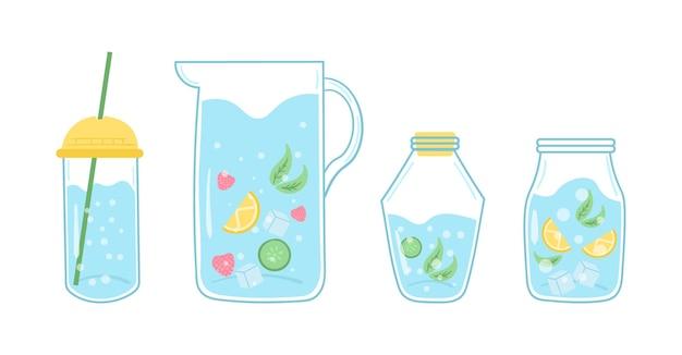 Citar beber mais água imprimir, beber com garrafa de vidro e copo