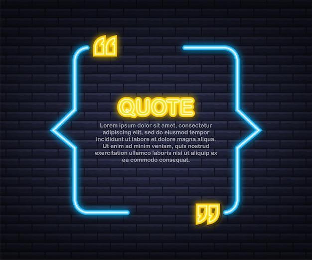 Citar. caixa de citações de néon de vetor, brilhando sobre fundo azul. ilustração vetorial. Vetor Premium