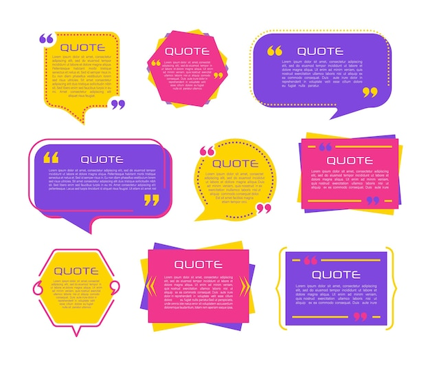 Citar quadros modelos em branco definidos em fundo branco observação bolha comentário mensagem bordas caixas banners balão de fala com aspas pense falar falar vírgulas Vetor Premium