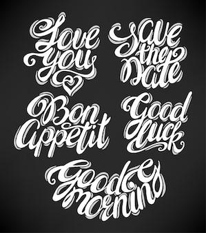 Cite a coleção com frases diferentes. ilustração desenhada à mão. caligrafia vintage.