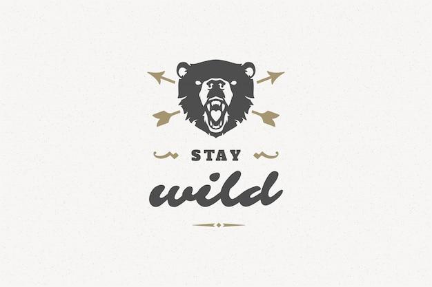 Cite a tipografia com mão desenhada símbolo de cabeça de urso bravo para cartões e cartazes e outros.