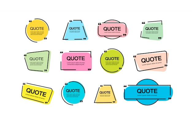 Cite as notas do quadro. layout para links e informações digitais. uma fonte simples de publicidade. conjunto de modelos de quadro e notas de citação.
