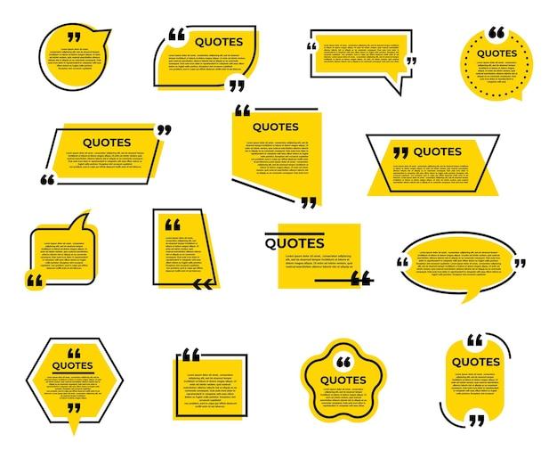 Cite bolha e caixa, mensagem de bate-papo, comentários e ícones de citação de nota com balões de fala ou quadros de balão de diálogo e aspas. caixa de texto de informações, tag de memorando, modelos de conversa e comentários