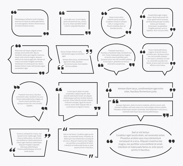 Cite caixas. design de caixa de frase de cotação, marcas de parágrafo de idéia comentário de sentença mencionar bolhas de descrição com vírgulas