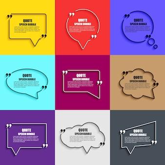 Cite o modelo de design de vetor de bolhas de discurso. molde de cartão de visita circle, folha de papel