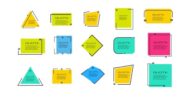 Cite o quadro da caixa, grande conjunto. ícone da caixa de cotação. mensagens de texto para caixas de cotação. fundo. ilustração
