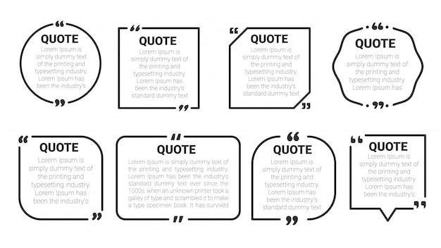 Cite o quadro de caixa. cite o conjunto de modelos de bolha de caixa e discurso. isolar em fundo branco.