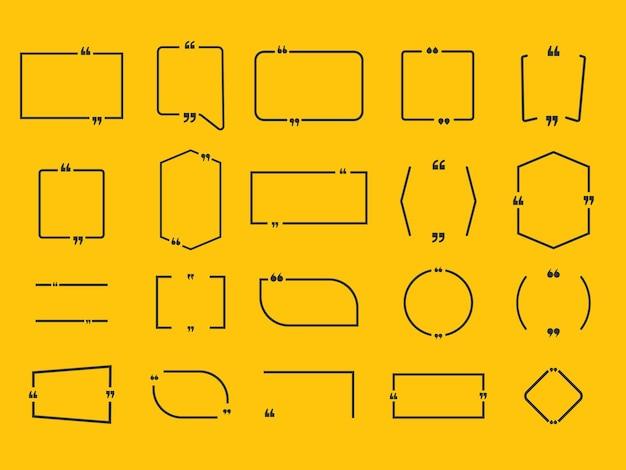 Cite o quadro de caixa, grande conjunto. envio de mensagens de texto para caixas de cotação. Vetor Premium